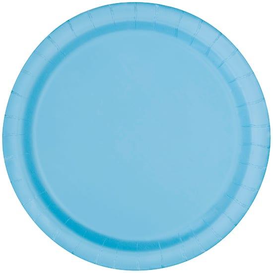 Platos De Papel Redondos Azul Claro 22Cm - Paquete De 16