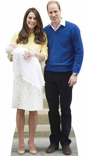 William Kate Y Bebé Charlotte Recorte De Cartón De Tamaño Natural 188Cm - Pre-Orden