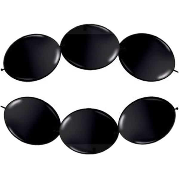 Globos De Enlace De Látex Metálico Negro - 12 Pulgadas / 30 Cm - Paquete De 15