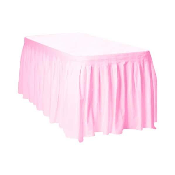 Hermosa Falda De Mesa De Plástico Rosa - 426Cm X 73Cm