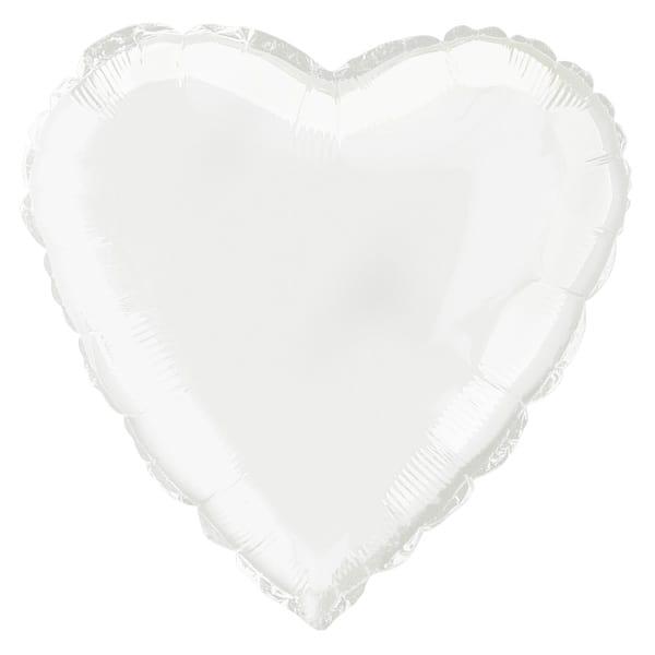 Globo Foil Corazón Blanco 45 cm