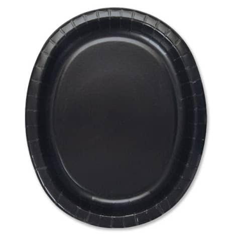 Platos De Papel Ovalados Negros 30Cm - Paquete De 8