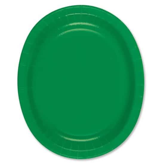 Papel del óvalo verde esmeralda Plate - 30cm