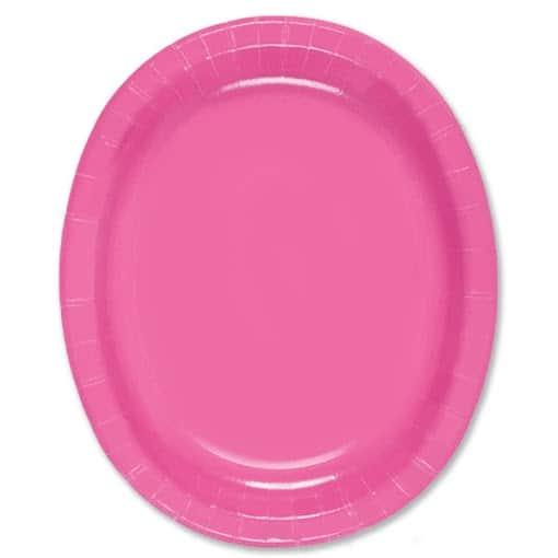 Papel rosado oval caliente Plate - 30cm