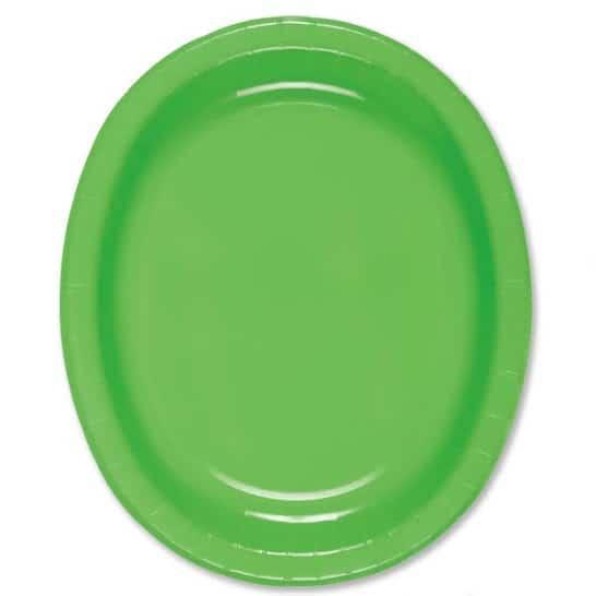 Papel del óvalo verde lima Plate - 30cm