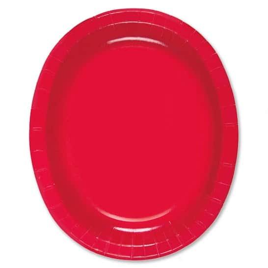 Platos De Papel Ovalados Rojo Rubí 30Cm - Paquete De 8