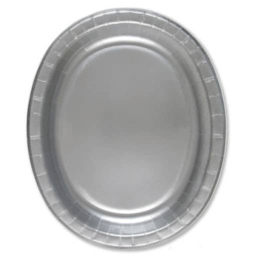 Platos De Papel Ovalados Plateados 30Cm - Paquete De 8