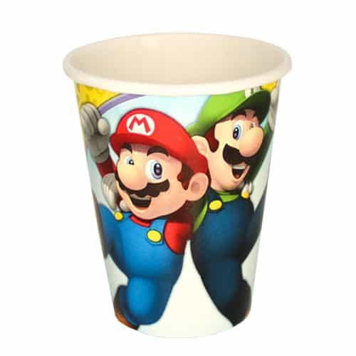 Vasos De Papel De Super Mario 266Ml - Paquete De 8