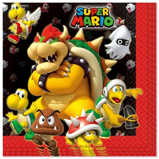 Super Mario servilleta de papel - 2 Capas - 33cm - Paquete de 16