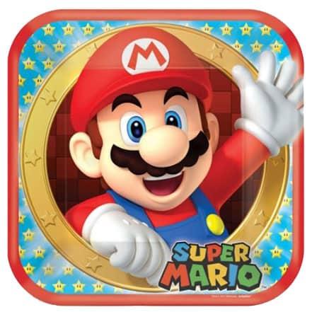 Platos De Papel Cuadrados Super Mario 23Cm - Paquete De 8
