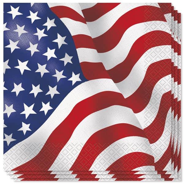 USA Bandera Almuerzo Servilletas - 2Ply - 33cm - Paquete de 16
