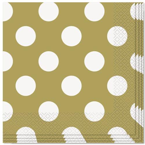 Servilletas de almuerzo de 2 capas doradas con puntos decorativos - 33cm - Paquete de 16