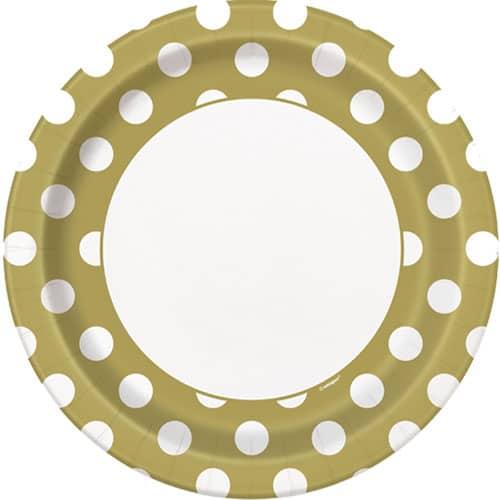 Platos De Papel De Lunares Decorativos Dorados 22Cm - Paquete De 8
