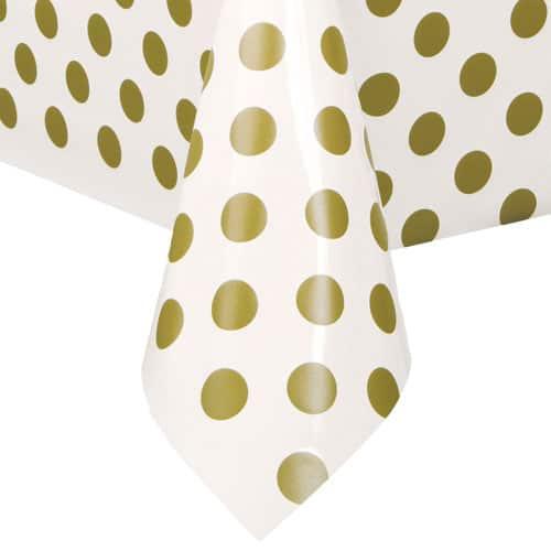 Mantel De Plástico Con Puntos Dorados 274Cm X 137Cm