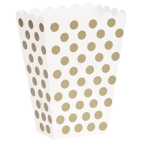 Los puntos del oro decorativos Cajas Treat - Paquete de 8