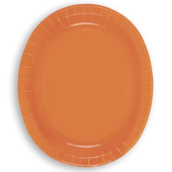 Platos De Papel Ovalados Naranja 30Cm - Paquete De 8