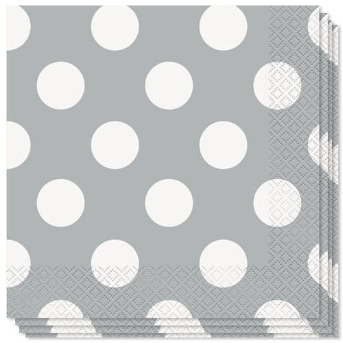Plata decorativo puntos 2 Capas Almuerzo Servilletas - 33cm - Paquete de 16