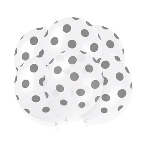 Globos De Látex Biodegradables De Puntos Decorativos Plateados - 30Cm - Paquete De 6