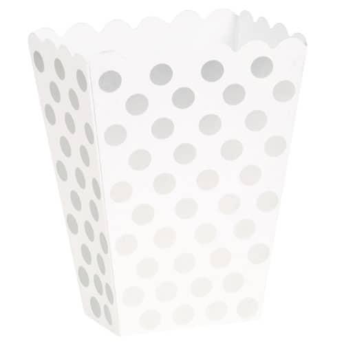 Plata Dots decorativas Cajas Treat - Paquete de 8