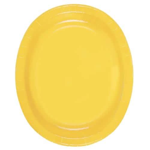 Platos De Papel Ovalados Amarillos 30Cm - Paquete De 8