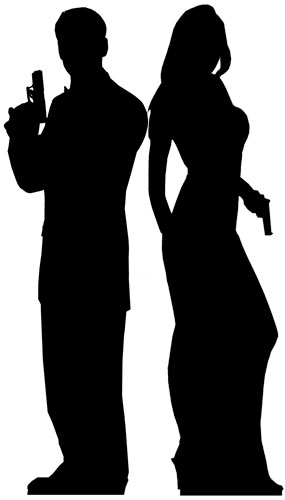 Masculinas y Femeninas Siluetas Double Agent Figura de Cartón Tamaño Natural 185cm