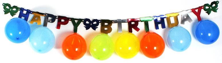 Pancarta De Feliz Cumpleaños Multicolor Con 10 Globos Colgantes De 2M