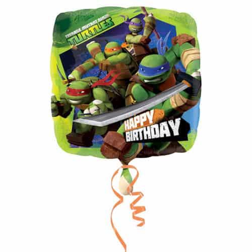 Globo de aluminio cuadrado feliz cumpleaños tortugas ninjas mutantes - 43cm