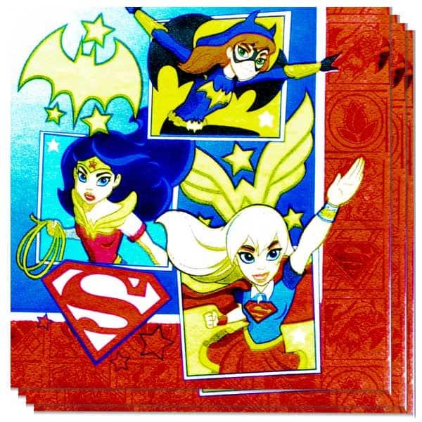Superhéroe DC Muchachas Servilletas de Papel 2 Capas - 33cm - Paquete de 16