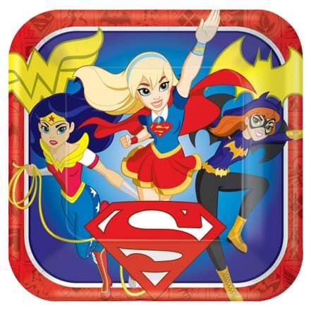 Placa de Superhéroes DC Girls Papel Cuadrado - 23cm