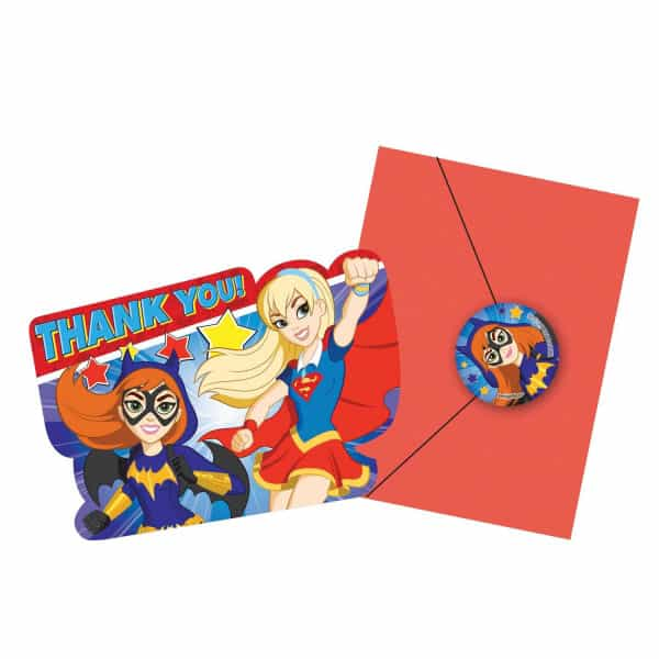 DC Super Héroe de Las Muchachas le Agradece Las Tarjetas Con Los Sobres - Paquete de 8