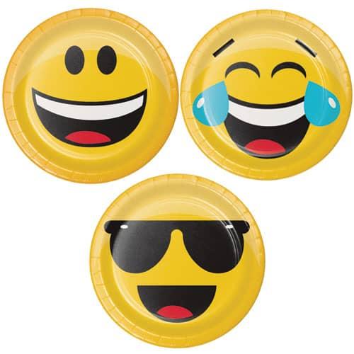 Emoji Clasificada de los Diseños de Papel Redondo de 18 cm Placa