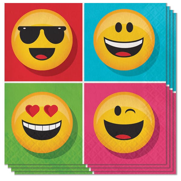 Emoji Diseños de Servilletas 2 Capas - 33cm - Paquete de 16
