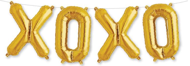 Oro XOXO Relleno De Aire Globo De La Hoja 41 Cm / 16 Pulgadas