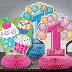 Primeras decoraciones de mesa de cumpleaños