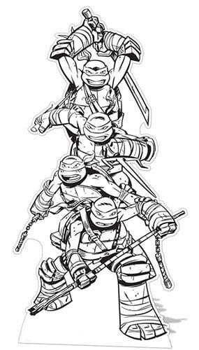 Tortugas Ninja Adolescentes Mutantes Color-En Recorte De Cartón De Tamaño Natural - 185 Cm