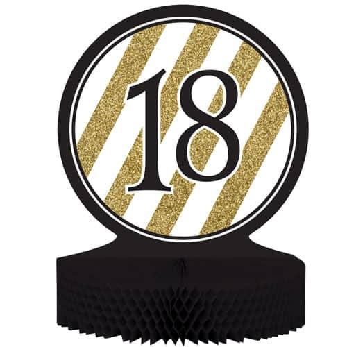 18 Negro y Oro de Nido de Abeja Centrepiece - 30cm