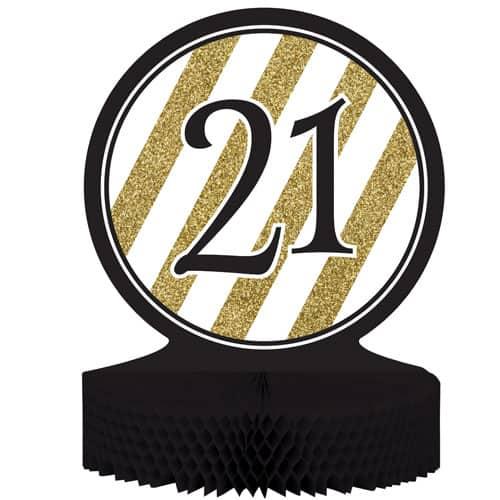 21 Negro y Oro de Nido de Abeja Centrepiece - 30cm