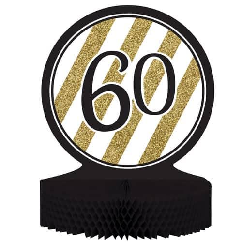 60 Negro y Oro de Nido de Abeja Centrepiece - 30cm