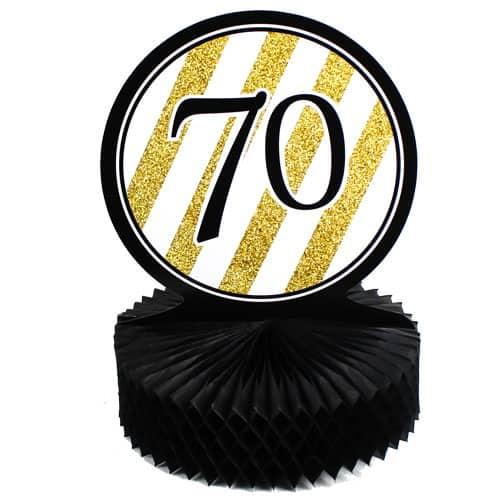 70 Negro y Oro de Nido de Abeja Centrepiece - 30cm