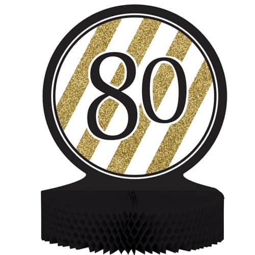 80 Negro y Oro de Nido de Abeja Centrepiece - 30cm