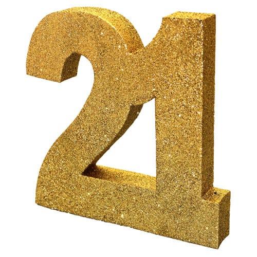 Feliz 21 Cumpleaños Negro y oro de Nido de Abeja Centrepiece