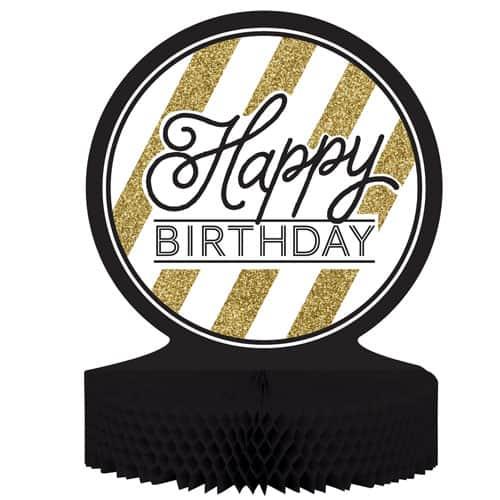 Feliz Cumpleaños Negro y oro de Nido de Abeja Centrepiece - 30cm