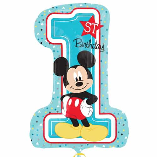 Mickey Mouse 1Er Cumpleaños Globo Gigante De Papel De Helio 71Cm / 28 In