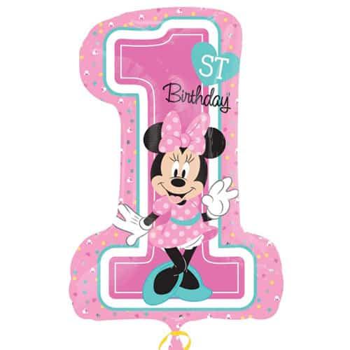 Minnie Mouse 1Er Cumpleaños Globo Gigante De Papel De Helio 71Cm / 28 In