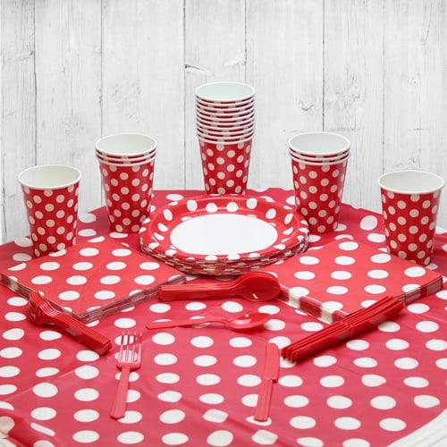 Paquete De Fiesta Rubí Rojo Punto Decorativo 18 Personas