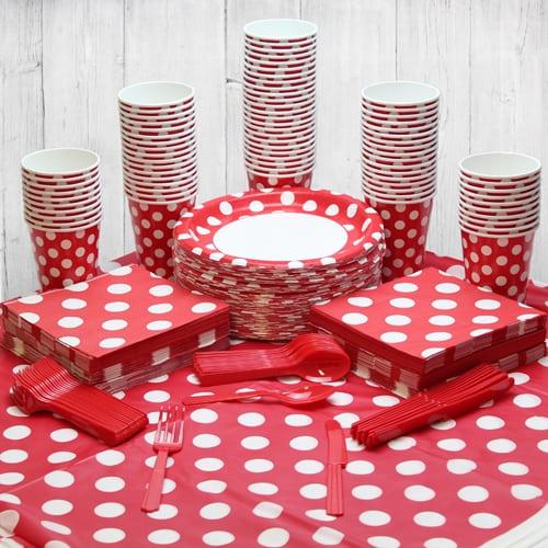 Paquete De Fiesta Rubí Rojo Punto Decorativo 90 Personas