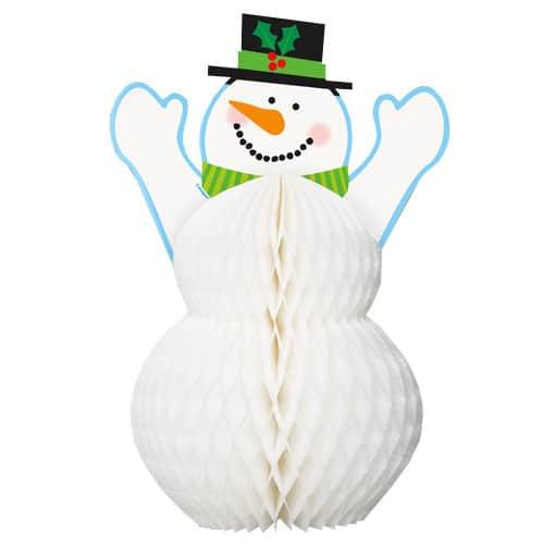 Muñeco de Nieve Decoración de Nido de Abeja - 30cm
