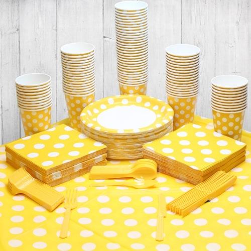 Paquete Decorativo Fiesta Girasol Amarillo Punto Persona 90 Personas