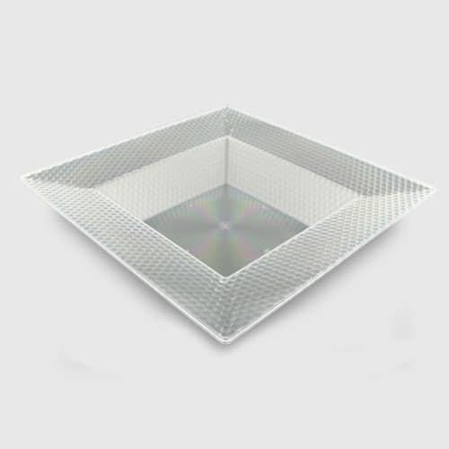Tazón de Fuente Plástico Claro del Cuadrado Con los Diseños del Hexágono