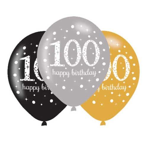 Celebración del Oro 100 Globos Felices Del Látex del Cumpleaños 27cm Paquete de 6
